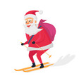 skiing happy santa clous on white background vector image vector image