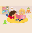 two girls reading book in a vector image vector image