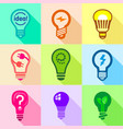 types of creative bulbs icons set flat style vector image