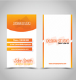 Vertical business card set template Orange and vector image