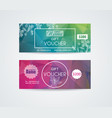 voucher template with floral design vector image vector image