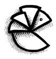cartoon image of pie chart icon graph symbol vector image
