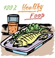 Healthy food A fish Juice vector image