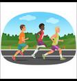 three young sport man running outdoor jogging vector image