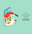 3d isometric flat concept working at vector image