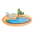 A swimming pool with a crocodile inside a buoy vector image vector image