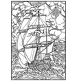 ancient vessel under full sail against stormy sea vector image vector image