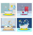 bathtub foam banner concept set cartoon style vector image vector image
