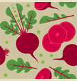 beetroot seamless pattern leaf flower harvest vector image