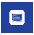 blue round button for code coding computer vector image