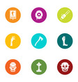 burial icons set flat style vector image vector image