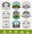 Camping retro logo vector image