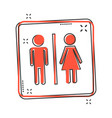 cartoon man and woman icon in comic style people vector image