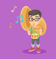 caucasian kid playing the tuba and the drum vector image