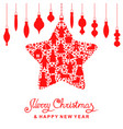 christmas card with decorative star and baubles vector image vector image