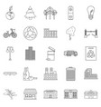 clean city icons set outline style vector image vector image