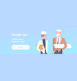 couple architect builders meeting two businessmen vector image vector image