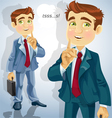 Cute businessman asked to be quiet vector image vector image