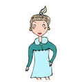 cute cartoon hipster girl with pony tail smile vector image vector image