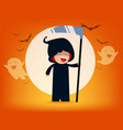 cute death character with old scyhalloween vector image vector image