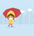 cute sick girl playing with red umbrella in the vector image