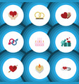flat icon amour set of heart save love sexuality vector image