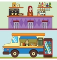 Food truck cafe car on the street Bakery and vector image vector image