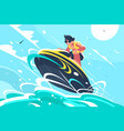 guy riding water scooter in sea vector image vector image