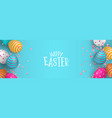 happy easter web banner eggs and spring flower vector image vector image