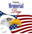 happy memorial day with american eagle vector image vector image