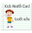 Health card with boy having toothache vector image vector image