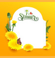 i love summer lettering text yellow flower vector image
