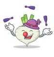 juggling turnip mascot cartoon style vector image