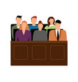 jury trial jurors court in courtroom prosecution vector image vector image