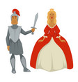 knight in armor and princess in ball gown isolated vector image