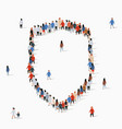 large group people in form shield vector image