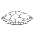 line art black and white pastry plate vector image