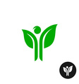 man figure with hands as a green plant leaves logo vector image