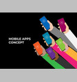 mobile apps concept flat design human hand vector image vector image