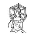 old fashioned woman and umbrella engraving vector image