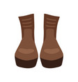 pair of brown leather boots on vector image vector image