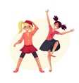 Portrait of teenaged two girls in pink clothes vector image vector image