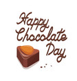 poster with tasty cocoa candies squared and heart vector image