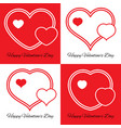 set of four of three hearts vector image vector image