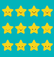 set of star emoticons collection of yellow vector image vector image