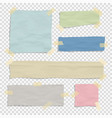 set paper color ripped pieces different size vector image vector image