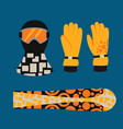snowboard sport clothes and tools elements vector image vector image