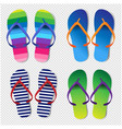 summer colorful flip flops set transparent vector image vector image