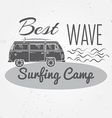 Surfing camp concept Summer surfing retro badge vector image vector image