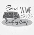 Surfing camp concept Summer surfing retro badge